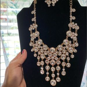 Gold and clear rhinestone necklace